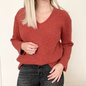 Madewell Merino Wool Sweater in Brick Red Colour
